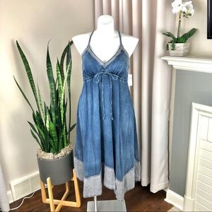 Anthropologie Pilcro Chambray Denim Midi Dress M